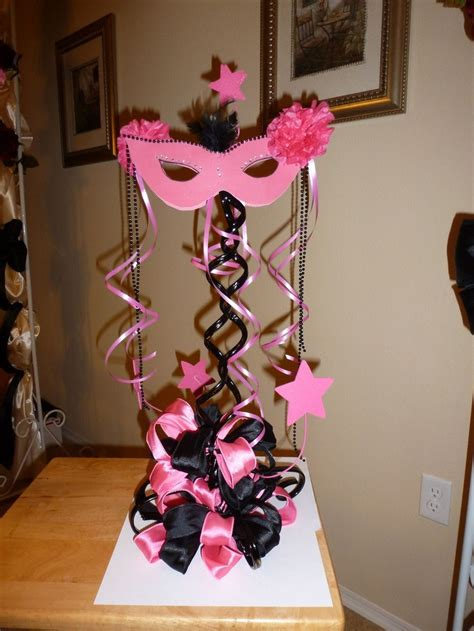masquerade and zebra centerpiece quinceanera and sweet