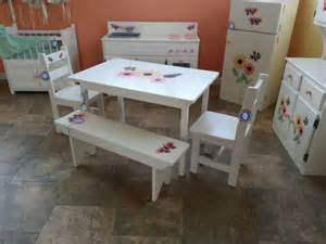 child size wooden table chair bench set by alaratessalexbres