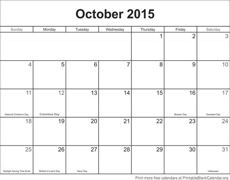 printable monthly calendar for october 2015 calendar for oct 2015 calendar template 2016