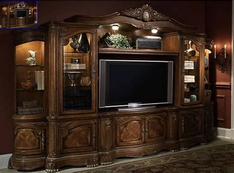 aico cortina entertainment center in honey walnut just