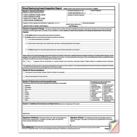 pest inspection report template pest forms form design and printing