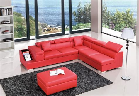 Red Color Sectional Sofa Upholstered in High Quality