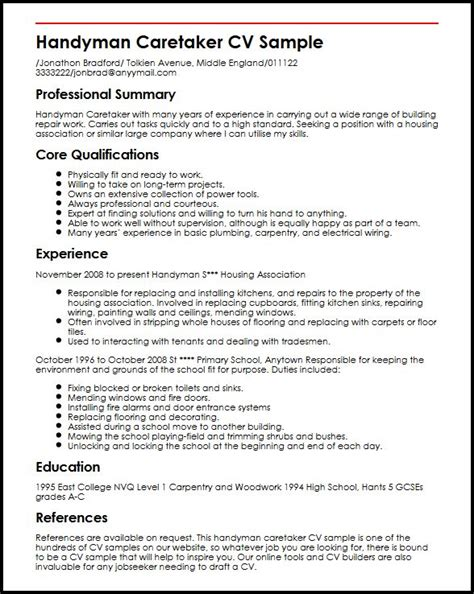 Good Resume Objectives Healthcare by Handyman Caretaker Cv Sample Myperfectcv