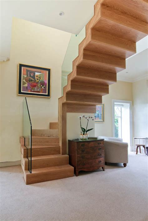 solid american white oak timber sawtooth winder stair