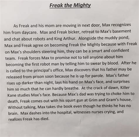 freak the mighty book report freak the mighty novel study free quizzes sentence