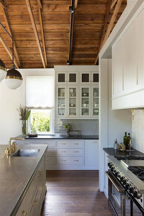 Gray Soapstone Countertops Blue Grey Cabinets Soapstone Counter Brass Vent
