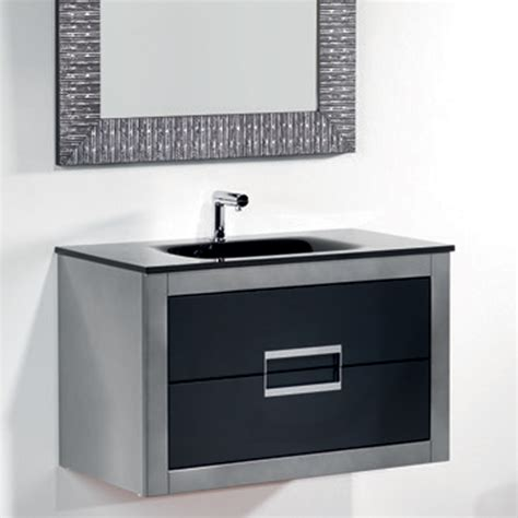 Bathroom Vanities Danya Silver Leather Modern Bathroom Vanity 32 Inch