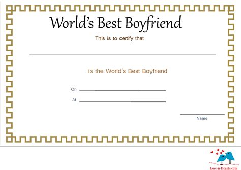 best certificate templates free printable world s best boyfriend certificates