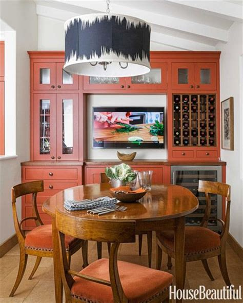 a bold burnt orange kitchen in hillsborough california paint colors cabinets and built ins