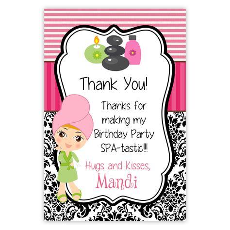 salon thank you card template spa thank you card pink stripes black damask