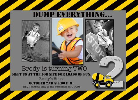construction themed birthday invitations boy construction theme photo card by expressingyoudesign