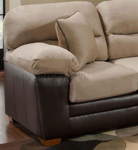 Leather And Microfiber Sofa Mocha Microfiber Sofa Loveseat Set W Bonded Leather Base