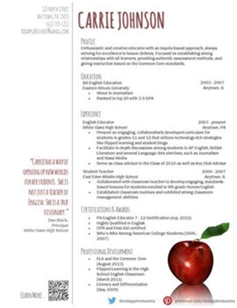 creative teacher resume reflection template by