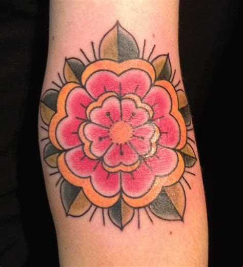 colored flower tattoos cool color flower design