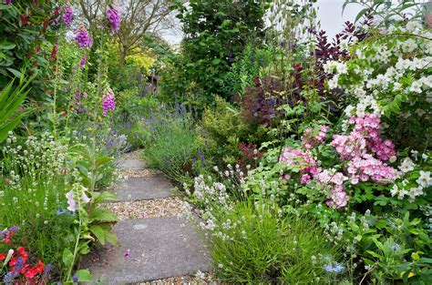 cottage garden flower border in suffolk uk english flow