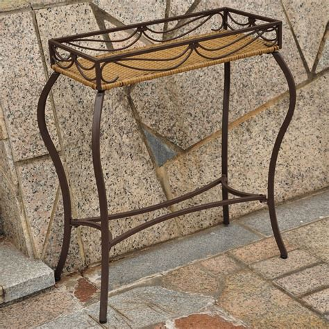 Patio Plant Stands Resin Wicker Steel Rectangular Outdoor Plant Stand 4115 Ps