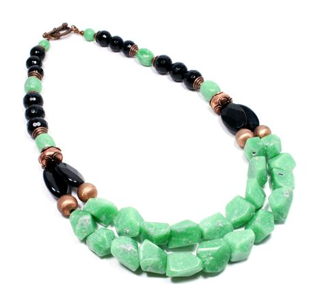 gemstone for jewelry deco inspired green and black gemstone necklace big