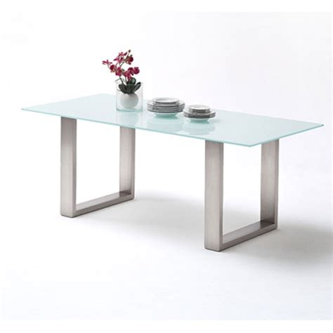 sayona glass dining table in white and stainless