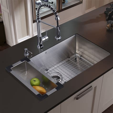 30 Inch Kitchen Sinks Vigo 30 Inch Undermount Single Bowl 16 Stainless Steel Kitchen Sink With Edison Chrome
