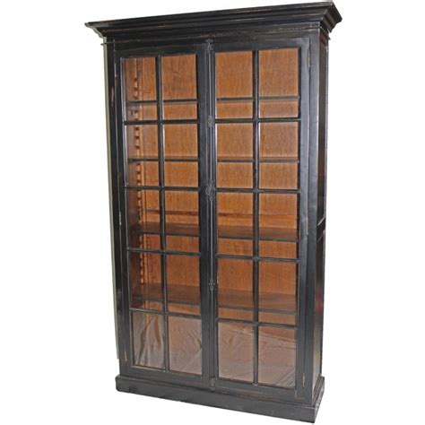 Glass Bookcase With Doors Black Bookcase With Glass Doors H 055