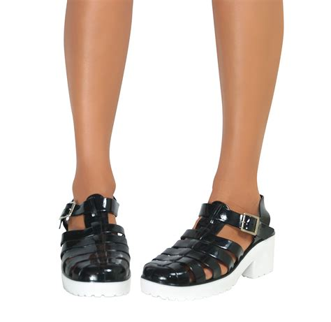 gladiator jelly sandals womens gladiator retro jelly sandals buckle block