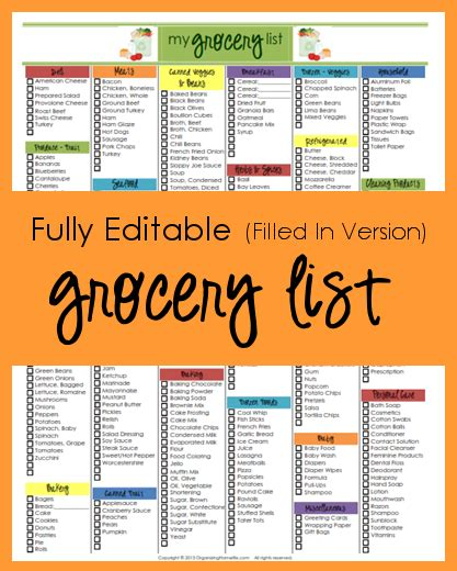 editable grocery list template editable grocery list filled in version organizing