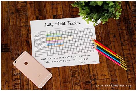 Daily Habit Tracker A Printable Goal Tracker Daisy Cottage Designs Daily Habit Tracker Template