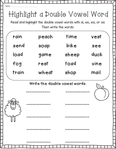 printable vowel letters when two vowels go walking word work for double vowel