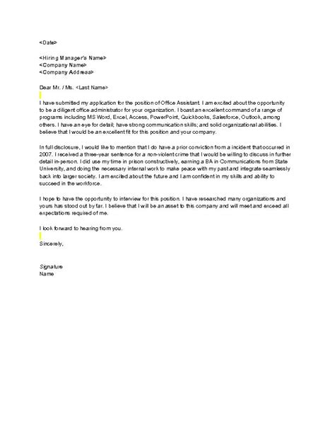 Cv Criminal Record Cover Letter Sle Cover Letter For Scholarship Doc Exle Sle Of Management