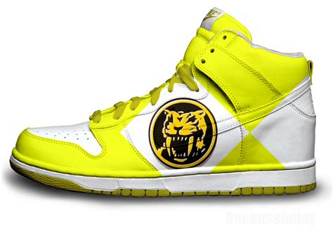 power ranger slippers yellow power ranger nike dunks by becauseimjay on deviantart