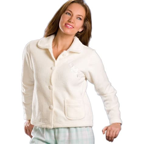 fleece bed jacket camille ladies lingerie womens soft warm button up fleece