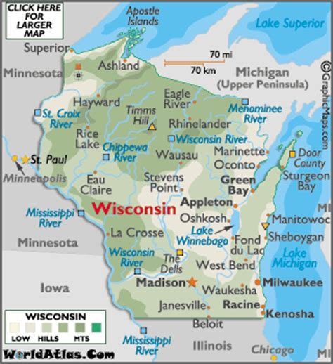 wisconsin on us map wisconsin map geography of wisconsin map of wisconsin