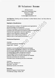 Un Volunteer Sle Resume resume sles un volunteer resume sle
