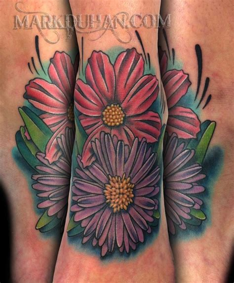 aster flower tattoo designs best 25 aster flower tattoos ideas on