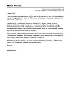 Cover Letter Exles For Accounting Clerk by Best Accounting Clerk Cover Letter Exles Livecareer