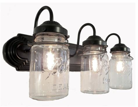 Bathroom Mason Jar Triple Vanity Wall Sconce Light Oil