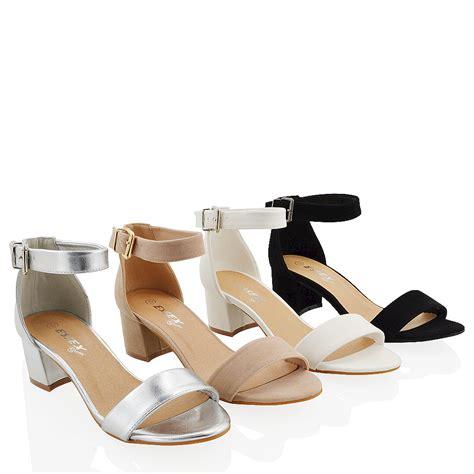 Sandal Heels Ip21 3 new womens ankle sandals block low heel peep toe strappy shoes size ebay