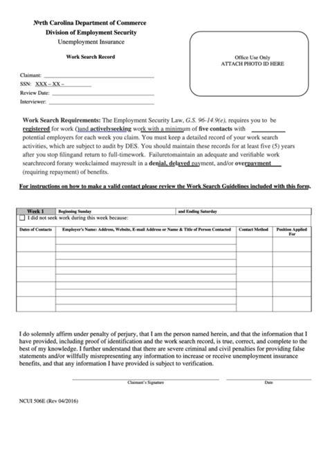 unemployment work search form fillable form ncui 506e unemployment insurance work