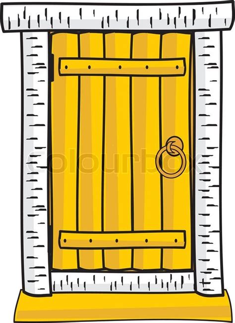 Fairytale Cottage House Plans by Wooden Door Isolated Cartoon Style Clip Art Stock