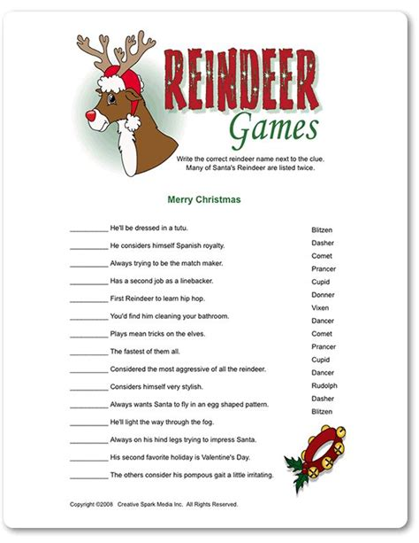 printable reindeer games printable reindeer games funsational com bedrooms