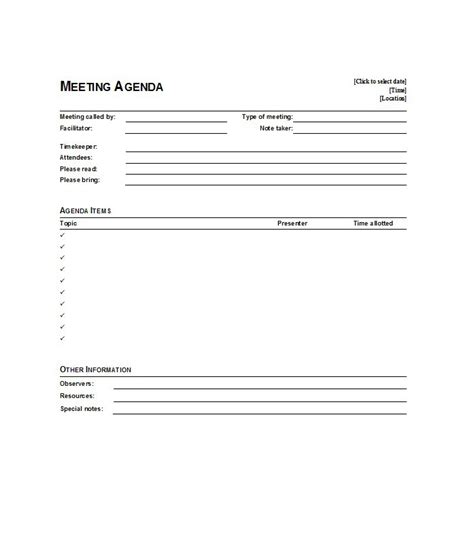 agendas for meetings templates free 51 effective meeting agenda templates free template
