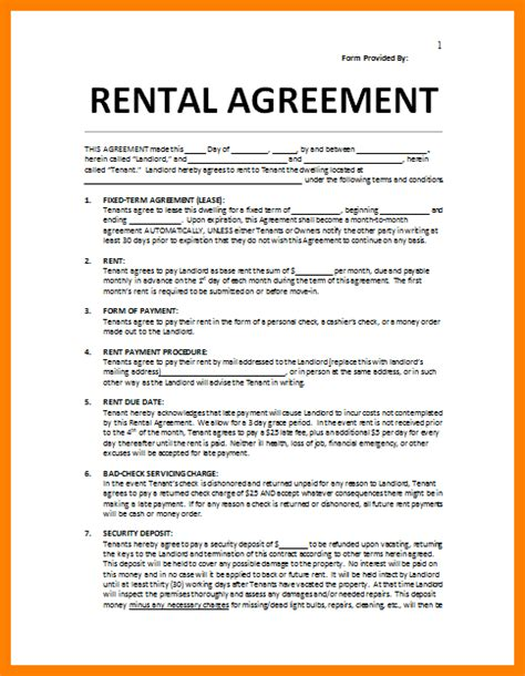 10 house rental agreement template assembly resume