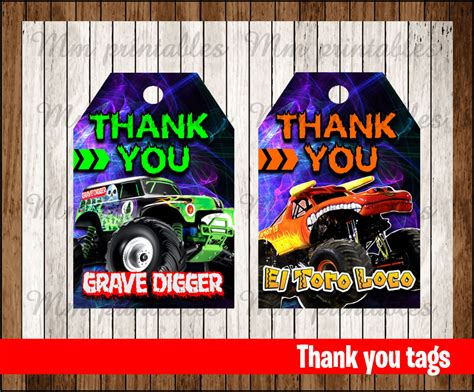 printable monster jam birthday cards 80 off sale monster jam thank you tags instant download