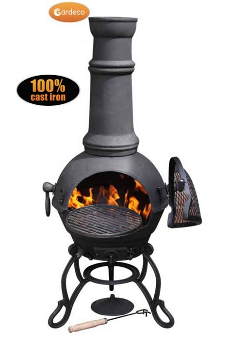 gardeco toledo cast iron chiminea large black