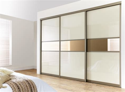 Wardrobe Closet Sliding Door Enchanting Three Sliding White Gloss Acrylic Wardrobe Closet Door With Built In Cabinet Ideas