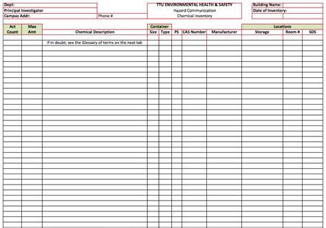 Chemical Inventory List Template Microsoft Office Templates Chemical Inventory List Template