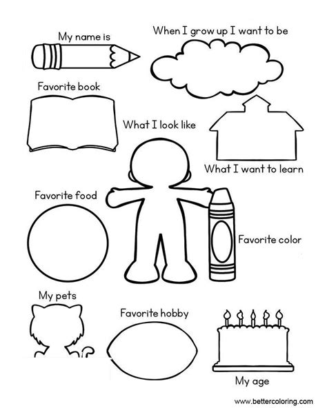 all about me coloring pages all about me worksheets coloring pages free printable