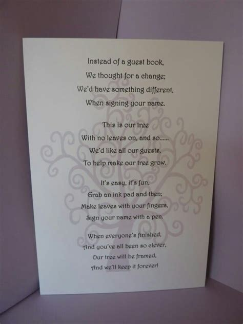 Wedding poem for thumb print tree   Crystal's baby shower