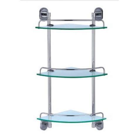 Dart Three Glass Corner Shelves With Chrome Wall Unit Corner Glass Shelves For Bathroom