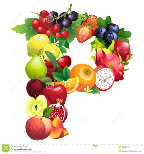 p letter fruits letter p composed of different fruits with leaves stock